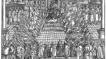 XVI-wieczna rycina przedstawiająca obrady sejmu piotrkowskiego, przed którym stanął ksiądz Stanisław Orzechowski.