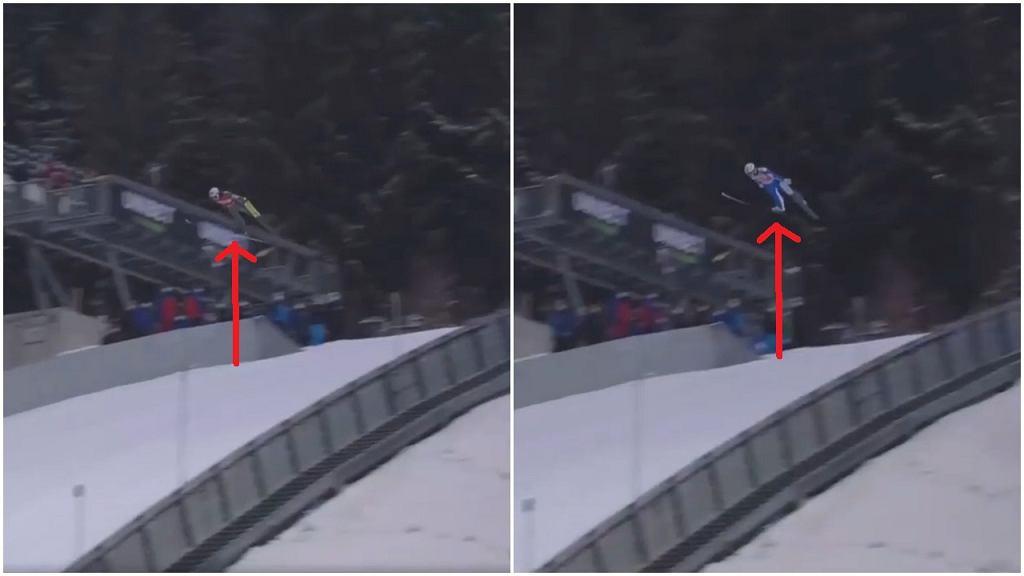 Porównanie wysokości po wyjściu z progu podczas skoków Halvora Egnera Graneruda (z prawej strony) i Kamila Stocha (z lewej strony) w drugiej serii konkursu w Klingenthal