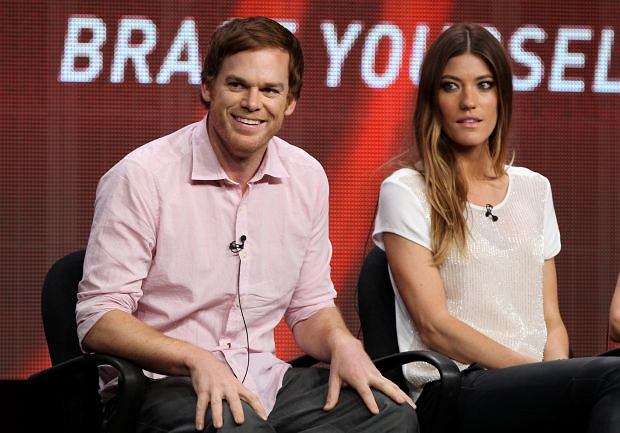 "Actor Michael C. Hall, left, and actress Jennifer Carpenter, from the television show ""Dexter"", participate in the CW Showtime TCA Panels, Monday, July 30, 2012, in Beverly Hills, Calif. (Photo by Matt Sayles/Invision/AP)"