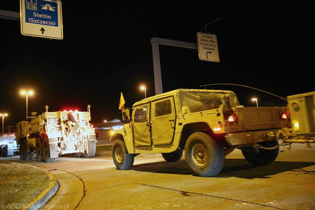 Defender Europe 20. Pierwszy transport wojsk amerykańskich wjeżdza do Polski przez przejście graniczne w Kołbaskowie