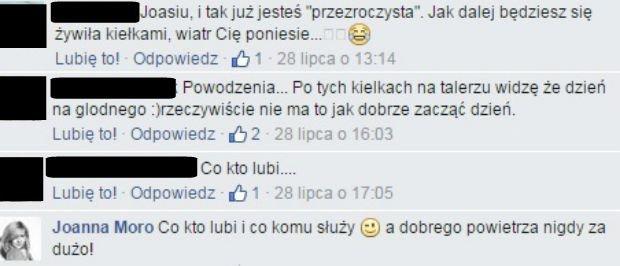 Komentarze na Facebooku Joanny Moro