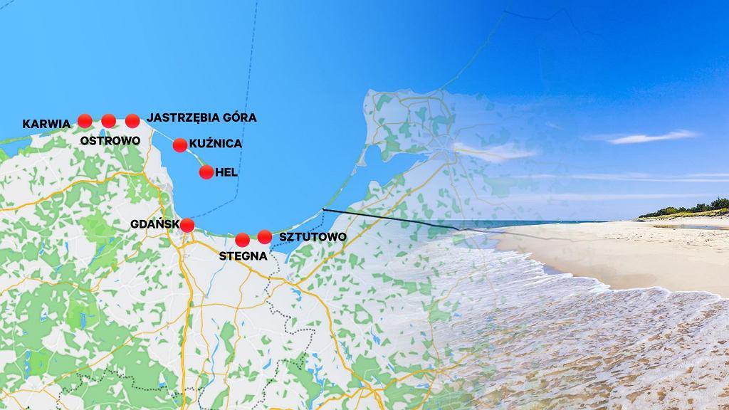 Mapka z plażami, które będą poszerzane i czasowo zamykane dla turystów