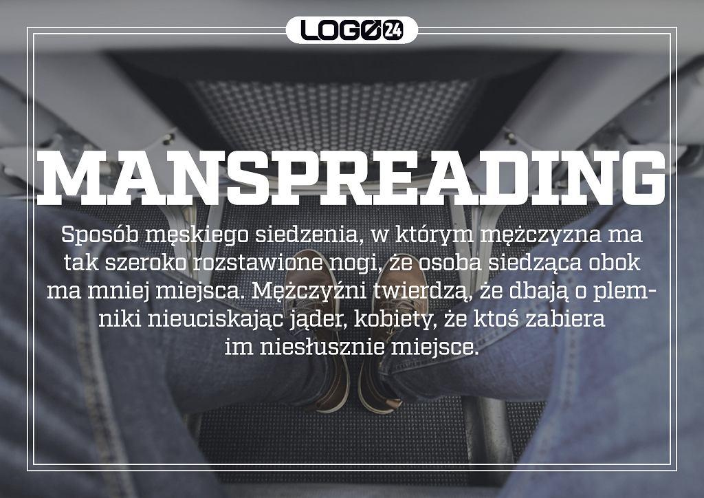 Manspreading - czyli sposób męskiego siedzenia, w którym mężczyzna ma tak szeroko rozstawione nogi, że osoba siedząca obok ma mniej miejsca. Mężczyźni twierdzą, że dbają o plemniki nieuciskając jąder, kobiety, że ktoś zabiera im niesłusznie miejsce.