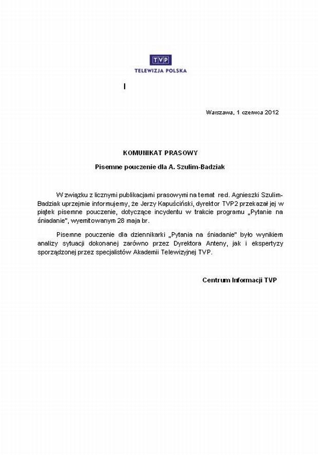 Oświadczenie TVP