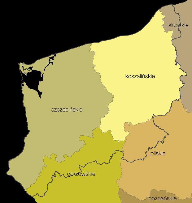 Województwo zachodniopomorskie na tle wcześneijszego podziału administracyjnego kraju