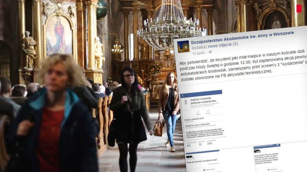 Duszpasterstwo Akademickie św. Anny w Warszawie komentuje niedzielny incydent do którego doszło podczas mszy.