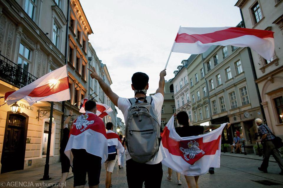 Marsz solidarności z Białorusią w Krakowie 30 sierpnia 2020 r.