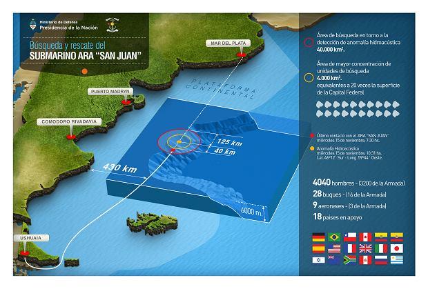 Trasa rejsu i region poszukiwań wraku. Mniejszy, żółty okrąg, to obszar wskazany przez CTBTO