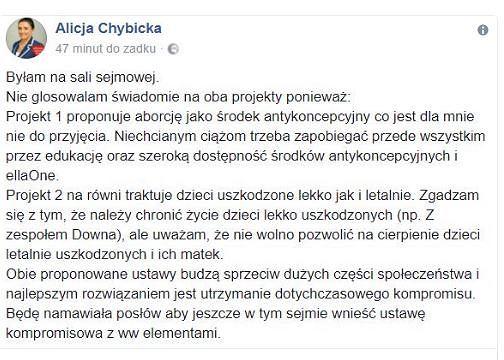 Archiwalny wpis Alicji Chybickiej