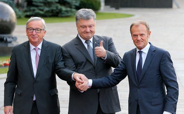 Petro Poroszenko, Jean-Claude Juncker i Donald Tusk - szczyt w Kijowie, 13 lipca 2017