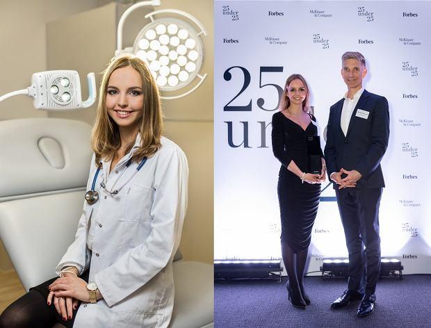Alicja Dudek wymyśliła aplikację, która pomaga lekarzom i pacjentom (fotografia po lewej: Tomasz Gotfryd, po prawej: Forbes)