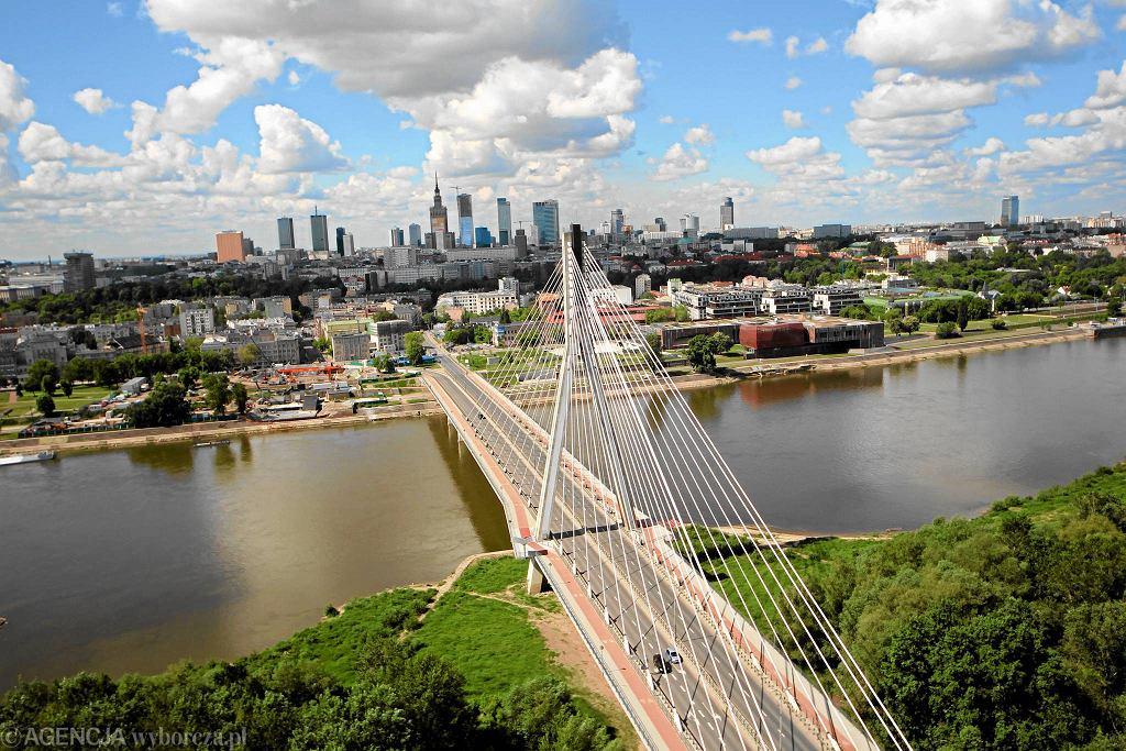 Most Świętokrzyski w Warszawie widziany z lotu ptaka
