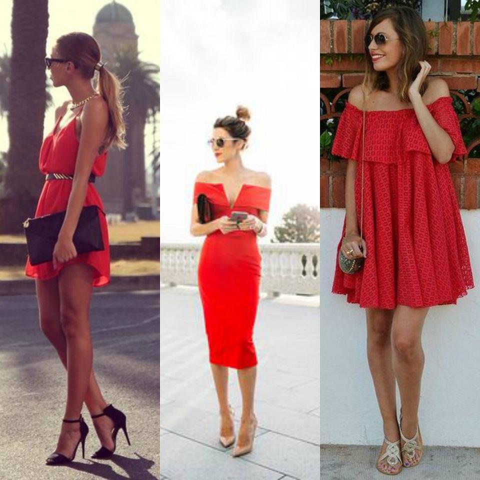 czerwone sukienki, gotowe stylizacje