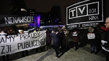 21.01.2019, Warszawa, pikieta przed siedzibą TVP pod hasłem 'TVoja wina - solidarni z Gdańskiem'