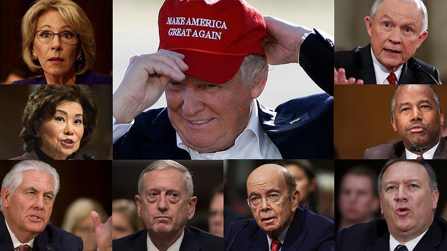 Donald Trump i niektóre z osób nominowanego do jego gabinetu