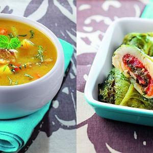 Pieczony dorsz zawijany w sałatę rzymską, Zupa z dorsza