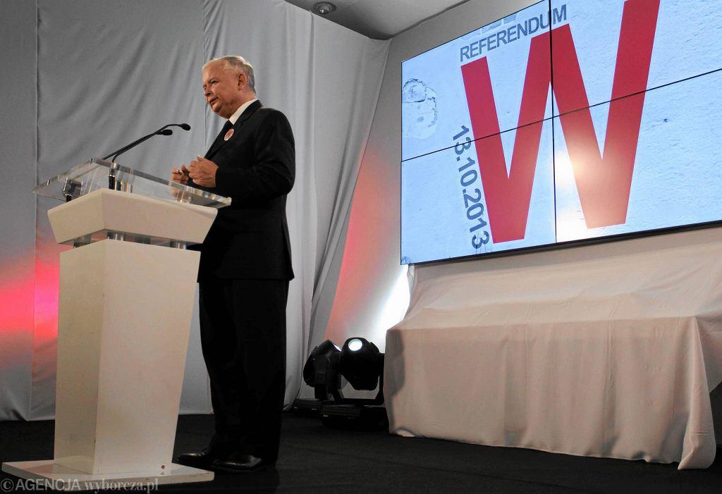 Jarosław Kaczyński na konwencji w sprawie referendum. W tle kontrowersyjny plakat kampanii z literą