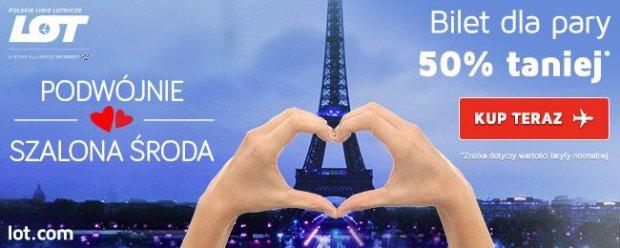 Podwójnie Szalona Środa w LOT: europejskie miasta z ukochaną osobą za pół ceny i prezenty dostarczane na pokład. Na Walentynki i pięć kolejnych weekendów