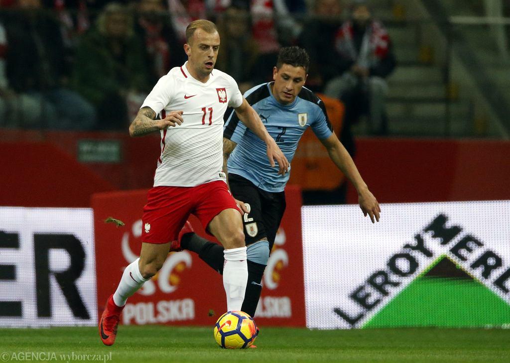 Kamil Grosicki podczas meczu towarzyskiego Polska-Urugwaj. Warszawa, Stadion Narodowy, 10 listopada 2017