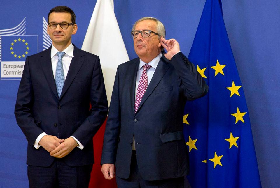 Premier Mateusz Morawiecki spotkał się w czwartek z szefem Komisji Europejskiej Jeanem-Claude'em Junckerem, 8 marca 2018.