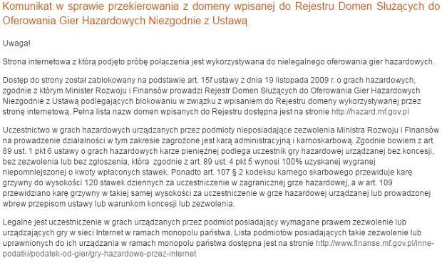 Ostrzeżenie Ministerstwa Finansów