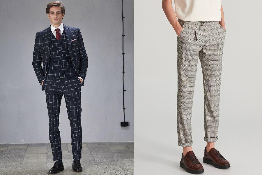 Spodnie w kratę męskie