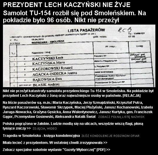Fragment strony głównej Gazeta.pl 4 kwietnia 2010 roku