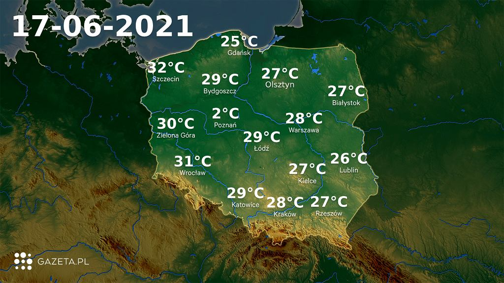 Prognoza pogody na czwartek 17 czerwca