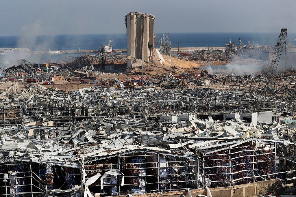 Liban, Bejrut. Eksplozja zniszczyła dużą część portu.
