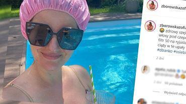 Zofia Zborowska wypoczywa w basenie w ciąży.