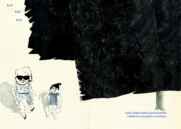 Fragmenty książki 'Babcia Konieczna!' stworzonej przez prowadzącą warsztaty Katarzynę Olbrycht