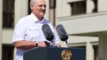 16.08.2020, Mińsk, Aleksander Łukaszenka przemawia na wiecu swoich zwolenników.