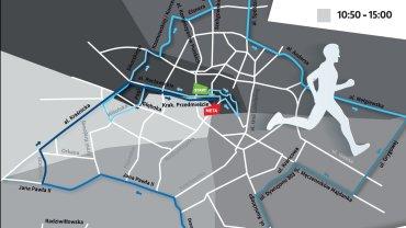 Mapa 3. PZU Maratonu Lubelskiego - gdzie i o której utrudnienia dla kierowców i pieszych