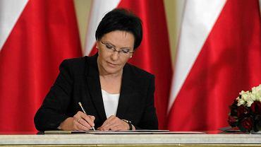 Ewa Kopacz podczas ceremonii zaprzysiężenia rządu