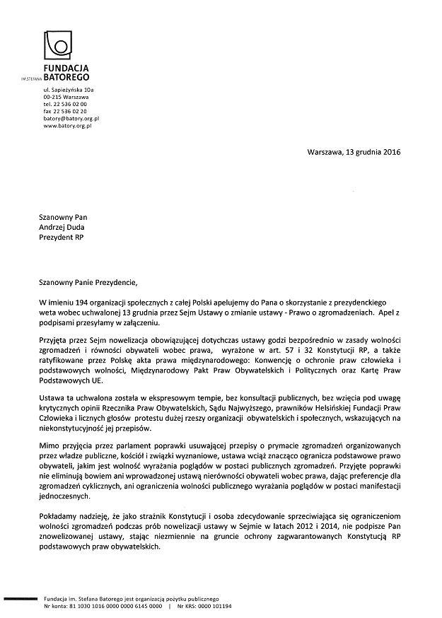 Apel do prezydenta Andrzeja Dudy