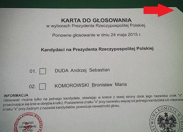 Karta do głosowania z obciętym rogiem