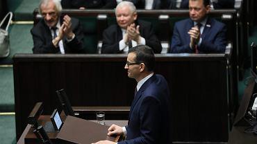Premier rządu PiS Mateusz Morawiecki poprosił o wotum zaufania (opozycja zapowiadała wotum nieufności - ugrupowanie Kaczyńskiego ma w Sejmie większość). Warszawa, Sejm, 12 grudnia 2018