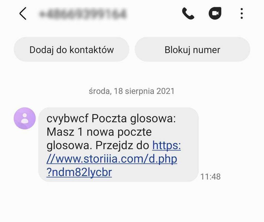 SMS od oszustów ws. wiadomości głosowej