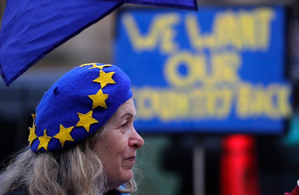 Przeciwnick brexitu demonstruje przed parlamentem w Londynie, 11 stycznia 2019 r.