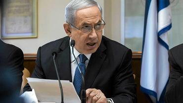 Premier Izraela Benjamin Netanjahu na wczorajszym posiedzeniu rządu