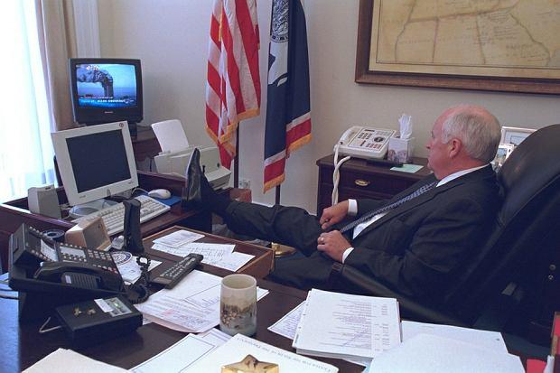 Wydarzenie, które miało zmienić go na zawsze. Chenney ogląda zamach na WTC