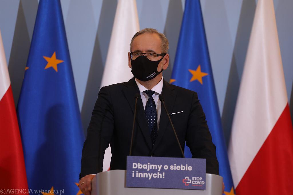 Konferencja prasowa ministra zdrowia w Warszawie w sprawie epidemii koronawirusa.