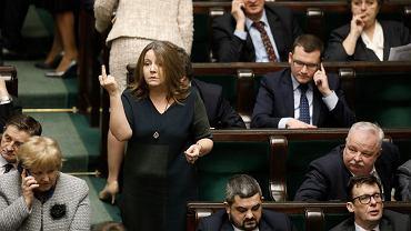 5. posiedzenie Sejmu X kadencji, Joanna Lichocka podczas bloku głosowań, Warszawa 13.02.2020 r.