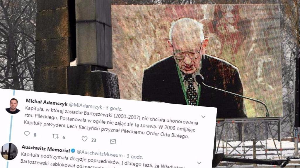 Władysław Bartoszewski przemawia w Muzeum Auschwitz