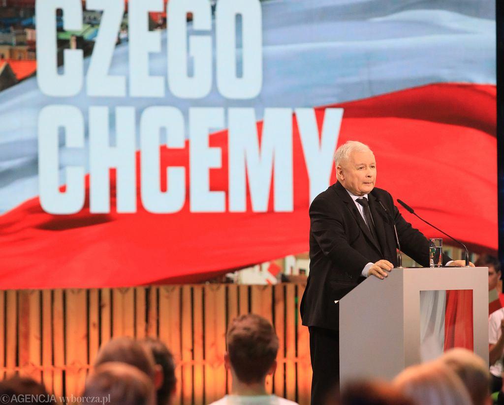 Jarosław Kaczyński podczas konwencji Forum Młodych PiS. Lublin, 24 czerwca 2020