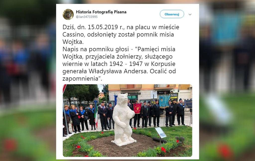 Pomnik niedźwiedzia Wojtka odsłonięty 15 maja w Cassino we Włoszech.