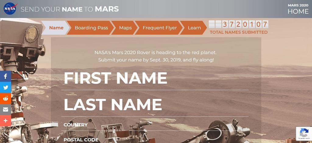 Strona, której można wpisać imię i nazwisko, które poleci na Marsa