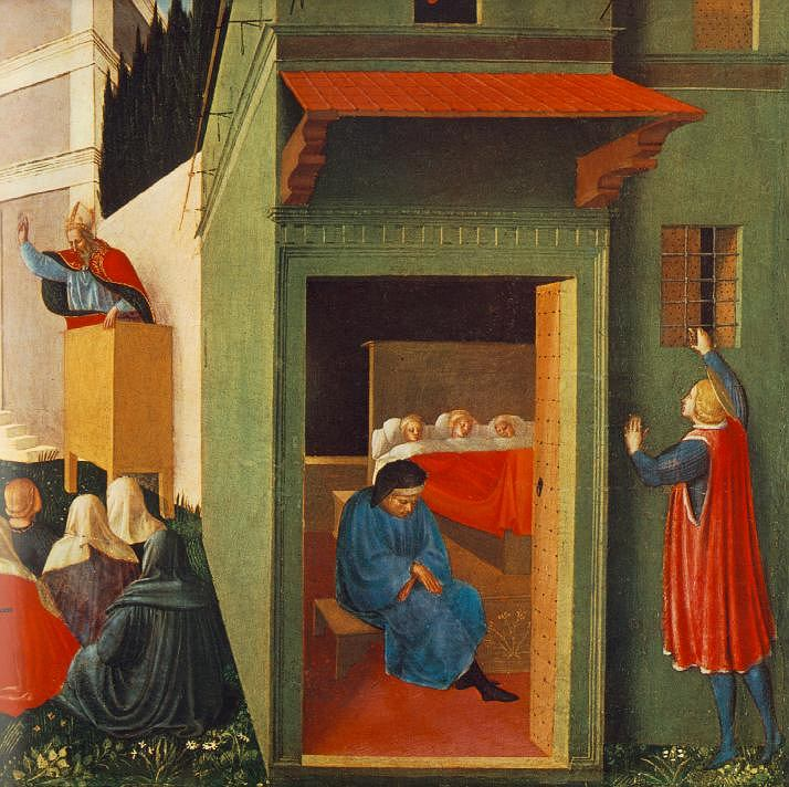 Fra Angelico, Święty Mikołaj wrzuca przez okno pieniądze na posag dla córek sąsiada, tempera na desce z 1437 roku / Domena publiczna
