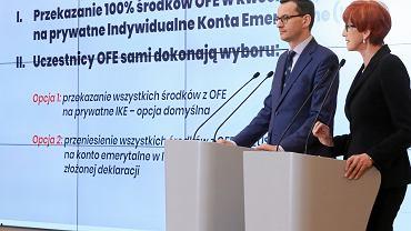 Konferencja prasowa premiera w Warszawie w sprawie przekształcenia OFE w IKE, Warszawa 15.04.2019