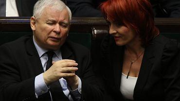 Jarosław Kaczyński i Bernadeta Krynicka z PiS w Sejmie